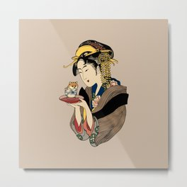 Tea Time with Shiba Inu Metal Print
