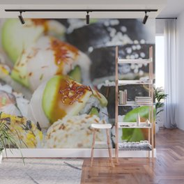 Fresh colorful sushi pieces Wall Mural
