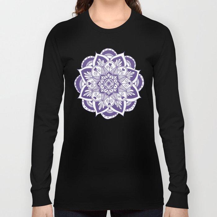Ultraviolet Flower Mandala Long Sleeve T-shirt
