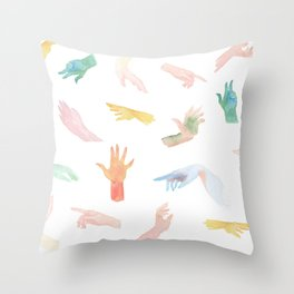 Watercolor Hands Pattern Throw Pillow