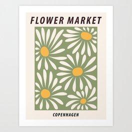 Flower market poster, Copenhagen, Posters aesthetic, Flower art, Chamomile, Daisy art print, Floral art Art Print