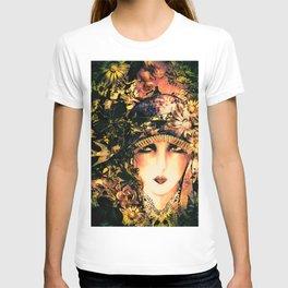 ART DECO FLAPPER COLLAGE POSTER PRINT, ROSES, BIRDS BUTTERFLIES ,LADY T-shirt