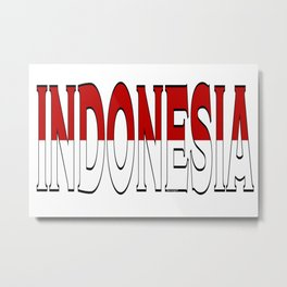 Indonesia Font with Indonesian Flag Metal Print