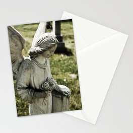 Angelic Statue Carries A Bouquet Of Roses Stationery Cards