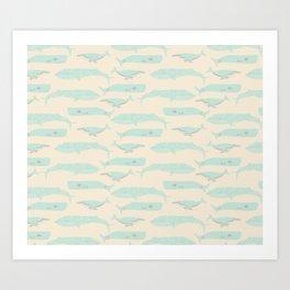 Drifting Whales Art Print