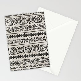 Boho Tribal Black & Cream, Geometric Print, Ink Tribal Decor Stationery Cards