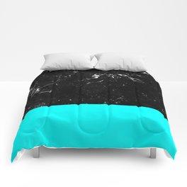 Aqua Blue Meets Black Marble #1 #decor #art #society6 Comforters