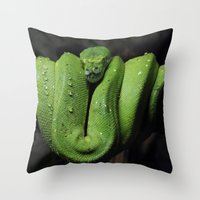 monty python Throw Pillows featuring Emerald Python by C Beth Holtzman