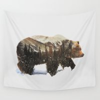 arctic monkeys Wall Tapestries featuring Arctic Grizzly Bear by Andreas Lie