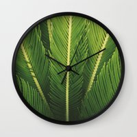 palm tree Wall Clocks featuring palm tree by Life Through the Lens