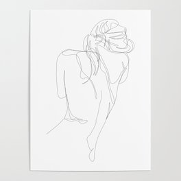 concealment - one line nude art Poster