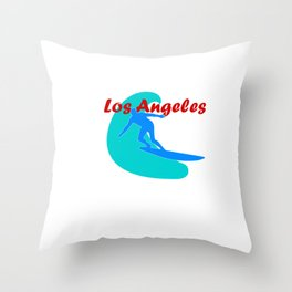 Surfer in Los Angeles Throw Pillow