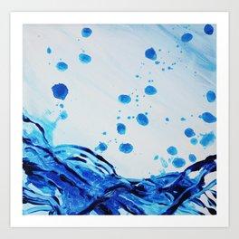 Abstract Art Bubbly Blue Art Print