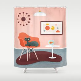 Midcentury Coral Decor With Black Cat And Gold Fish Shower Curtain