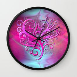 Poetic Heart (hot pink-shell) Wall Clock