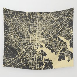 Baltimore map yellow Wall Tapestry
