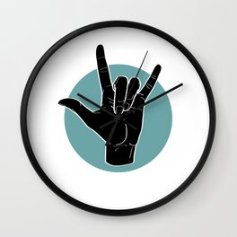 ILY - I Love You - Sign Language - Black on Green Blue 00 Wall Clock