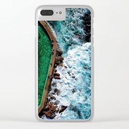 An aerial shot of an ocean rock pool in Bronte beach, Sydney Australia Clear iPhone Case