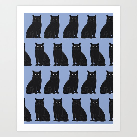 Black Cat pattern print cute cat lady gift for cat lover pet portraits cat art animal children  Art Print