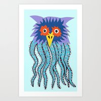 cthulu Art Prints featuring the owl of cthulu by ronnie mcneil