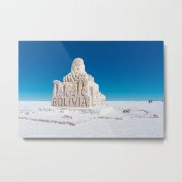 Dakar, Bolivia Monument in Salar de Uyuni, Salt Flats Metal Print