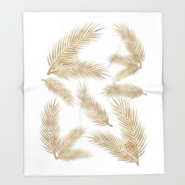 Rose Gold Glitter Marble Troipcal Leaves Throw Blanket