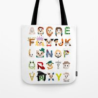 oz Tote Bags featuring Oz-abet (an Oz Alphabet) by Mike Boon