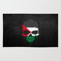 palestine Area & Throw Rugs featuring Flag of Palestine on a Chaotic Splatter Skull by Jeff Bartels