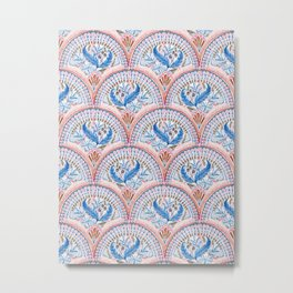 Art Deco Fresco in Sky Blue and Coral Metal Print