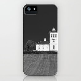 Black and white image of a homestead in Auckland New Zealand iPhone Case