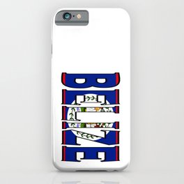 Belize Font with Belizean Flag iPhone Case