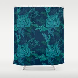 Tiger Greenery Shower Curtain