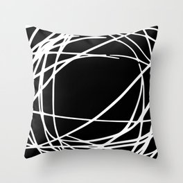 Black and White Circles and Swirls Modern Abstract Throw Pillow