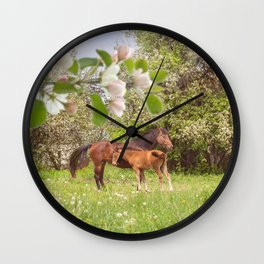 Horses in spring pasture Wall Clock