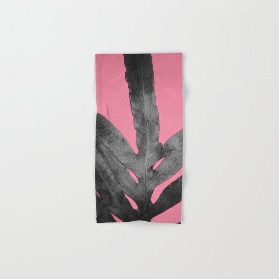 Green Fern on Pink - Black Shadow Hand & Bath Towel