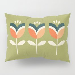 RETRO TULIP - ORANGE AND OLIVE GREEN Pillow Sham