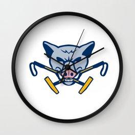 Wild Hog Head Crossed Polo Mallet Retro Wall Clock
