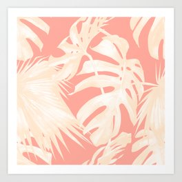 Tropical Coral Pink Palm Leaf Pattern Kunstdrucke