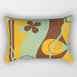 Modern Retro Floral Graphic Art Rectangular Pillow