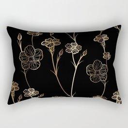 Black & Gold Floral Pattern Rectangular Pillow