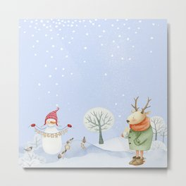 Merry christmas- Snowman Deer and birds are having Winter fun Metal Print