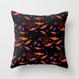 Spider Webs & Bats Throw Pillow