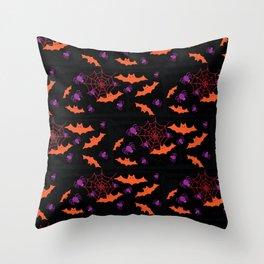 Spider Webs & Bats Throw Pillow