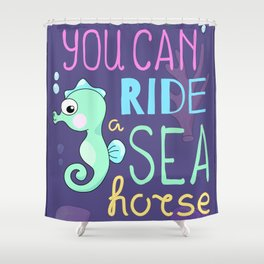 Underwater Cartoon Poster with Seahorse Shower Curtain