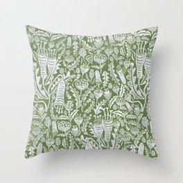 Green Folk Florals Throw Pillow