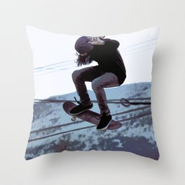 High Flying Skateboarder Throw Pillow