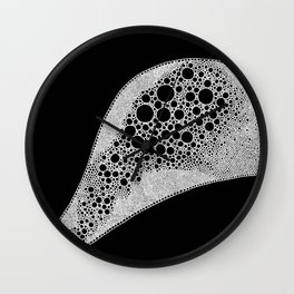 Riverbed   Black and White Ink Freehand Drawing Wall Clock