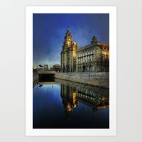 liverpool Art Prints featuring Liverpool Sunrise by tarrby/Brian Tarr
