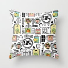Pattern Stay Happy Animals Throw Pillow