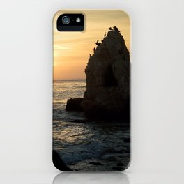 Beach Sunset With Large Rock And Pelicans iPhone Case